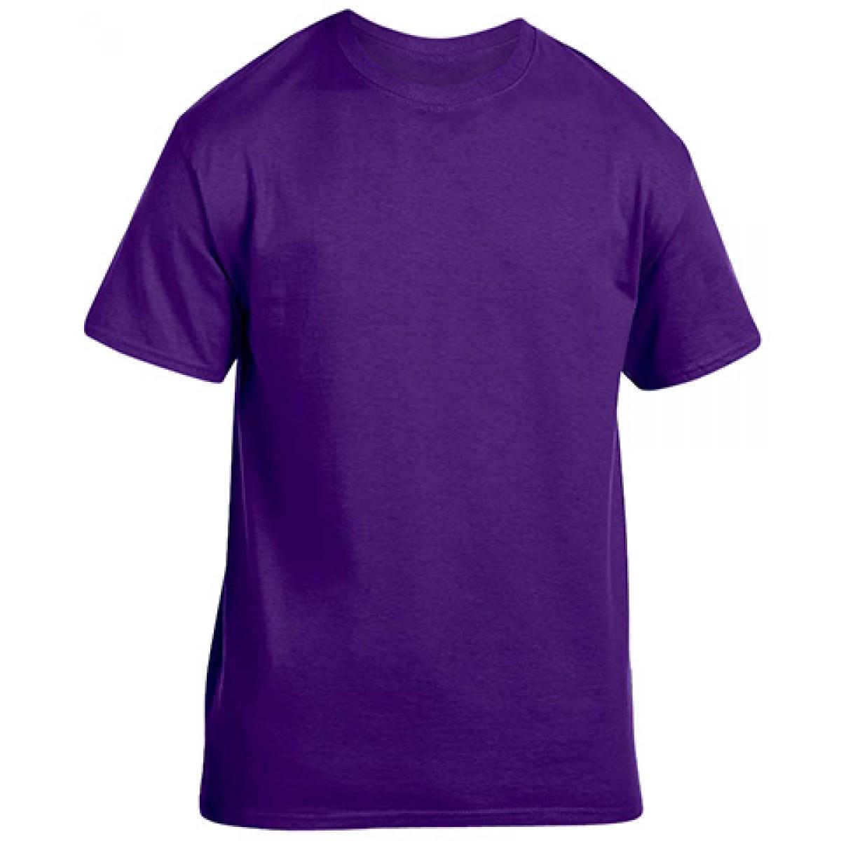 Soft 100% Cotton T-Shirt-Purple-S