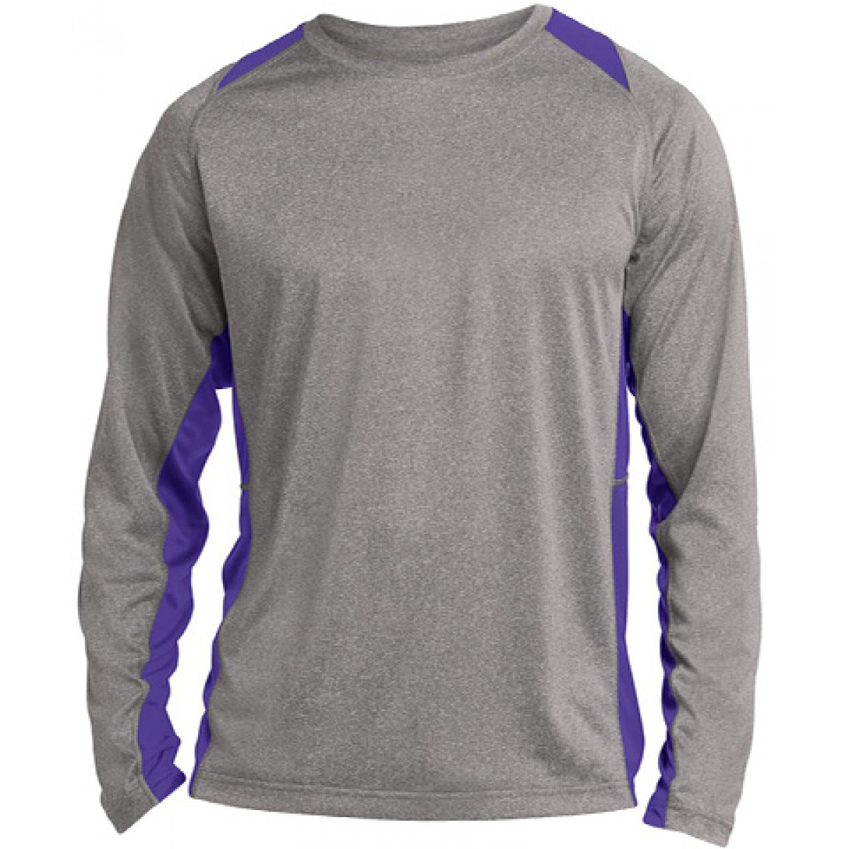 Long Sleeve Heather Colorblock Contender-Royal Blue-YM