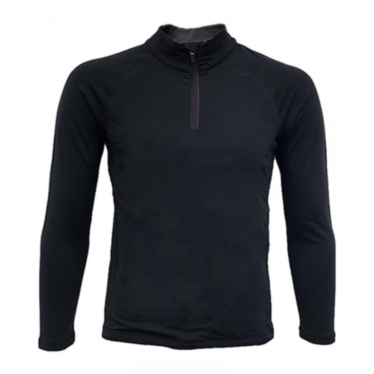 Quarter-Zip Lightweight Pullover LS-Black-XL