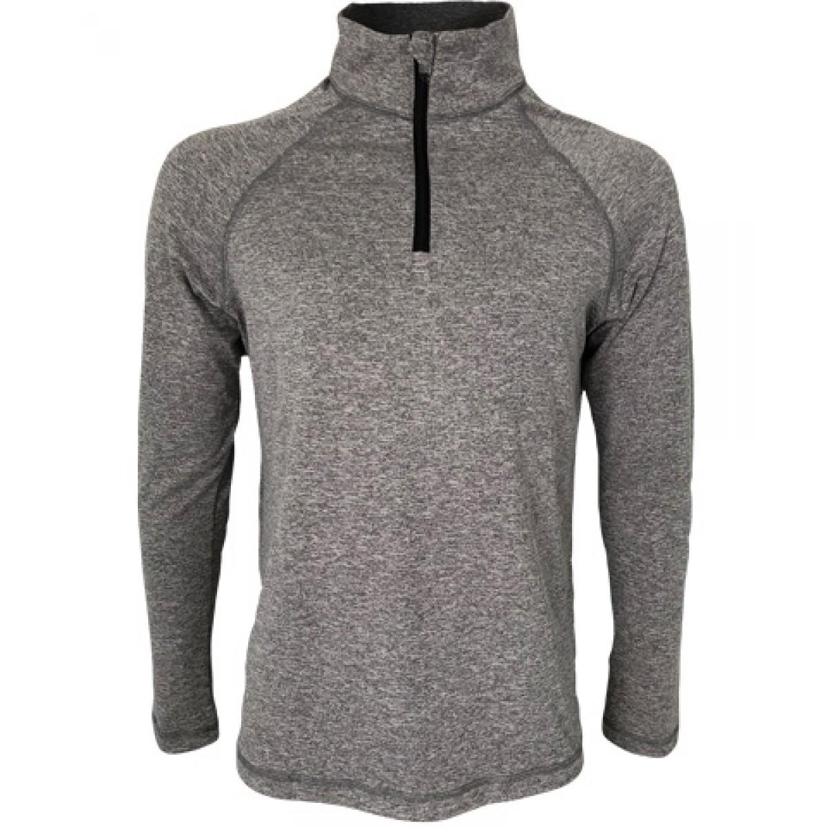 Men's Quarter-Zip Lightweight Pullover-Gray -L