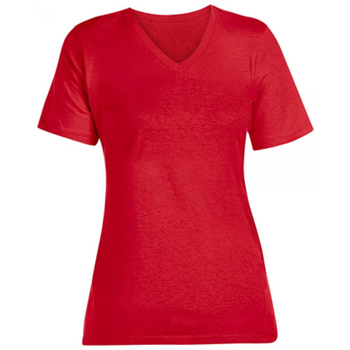 Short Sleeve V-Neck T-Shirt-Red-S