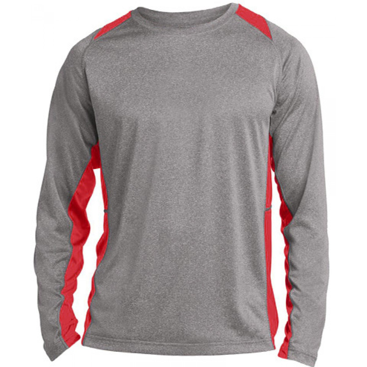 Long Sleeve Heather Colorblock Contender-Gray/Red-3XL
