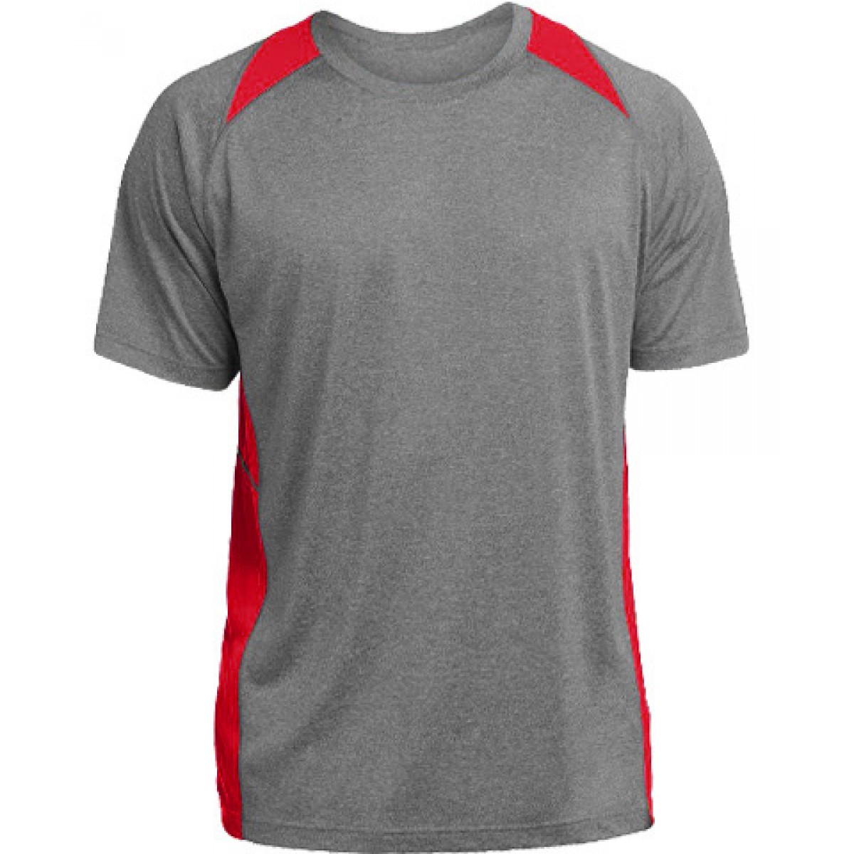 Heather Colorblock Contender™ Tee-Gray/Red-YM