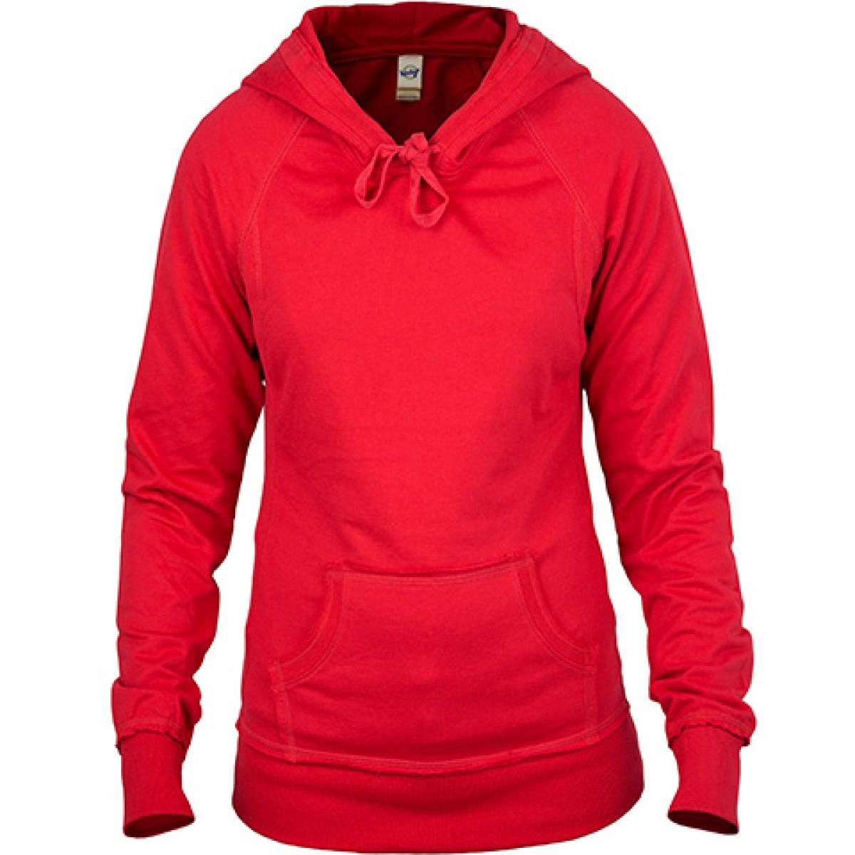 Red Junior Raw Edge Long Sleeve Zip Hoodie