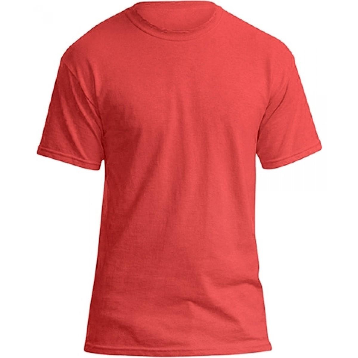 Soft 100% Cotton T-Shirt-Heather Red-2XL