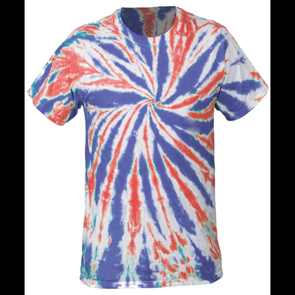 Multi-Color Tie-Dye Tee -Red/White/Blue-YM