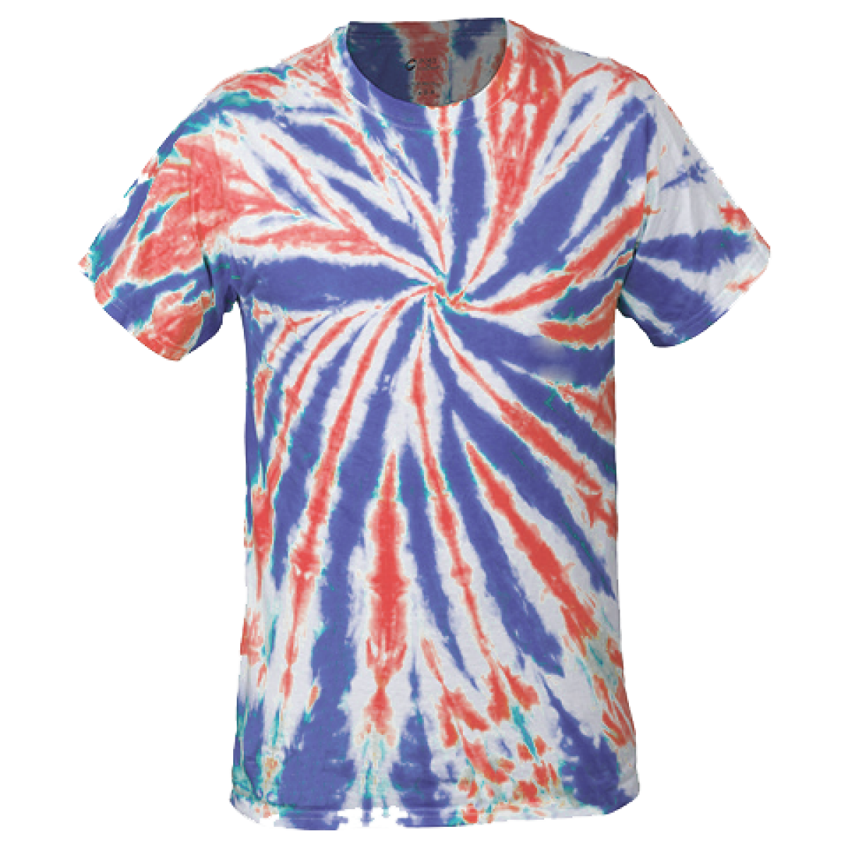 Multi-Color Tie-Dye Tee -Red/White/Blue-L