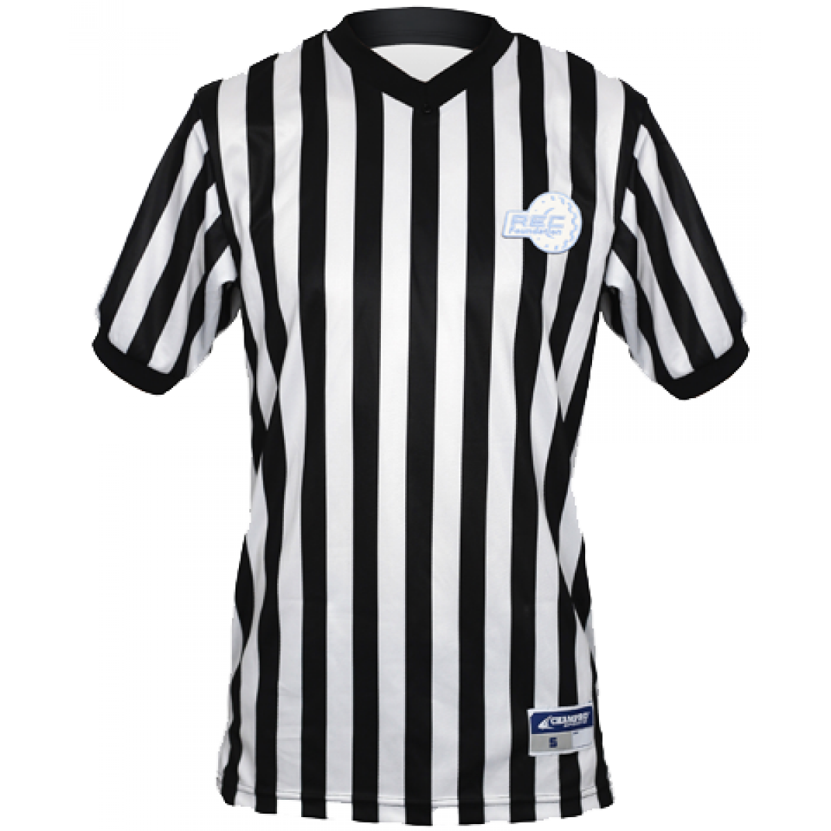 Referee T-shirt V-neck-White/Black-S