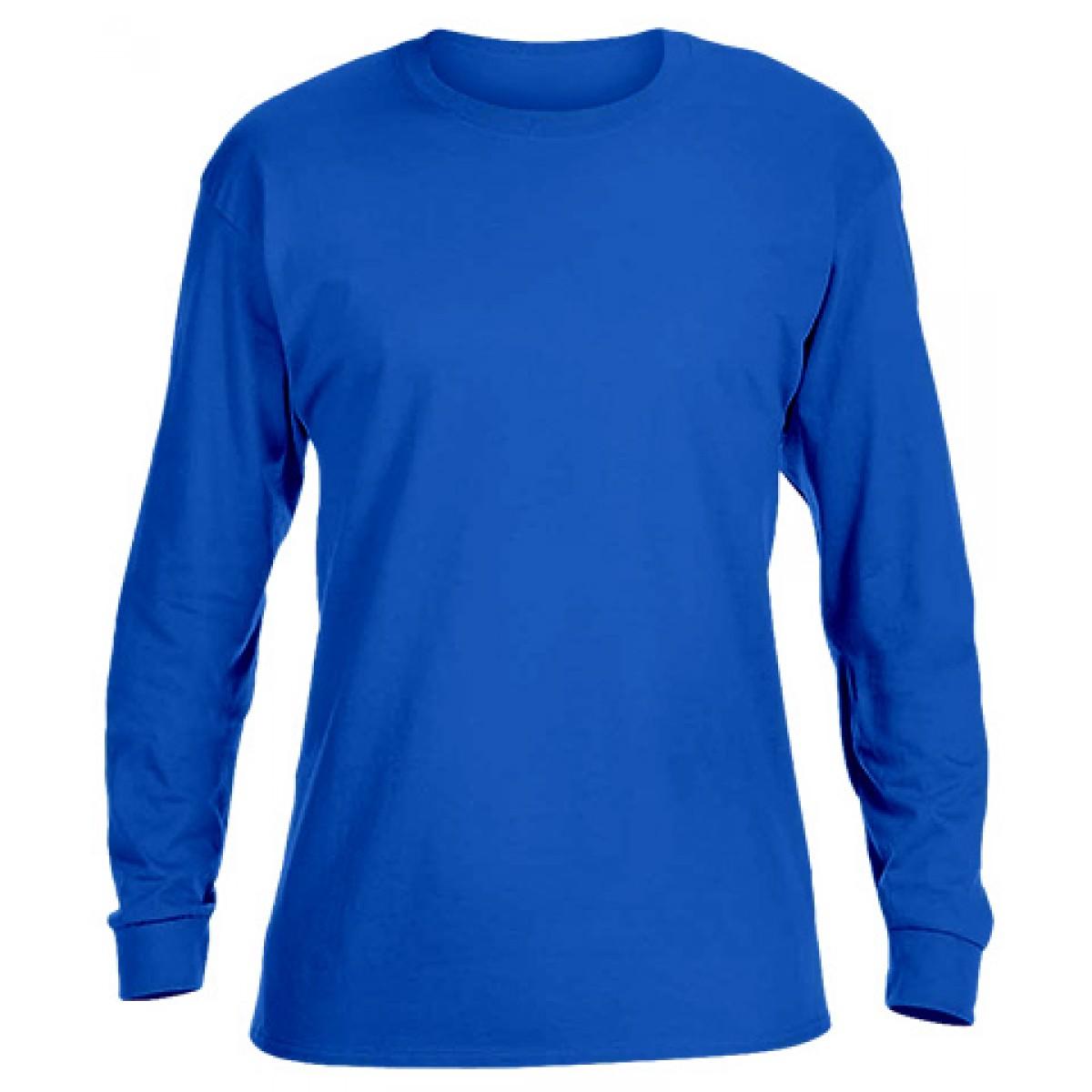 Basic Long Sleeve Crew Neck -Royal Blue-L