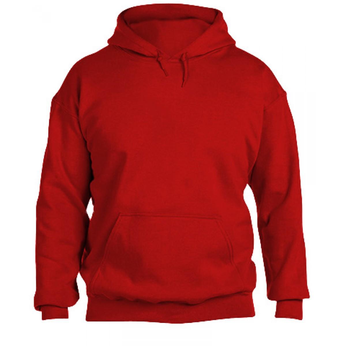 Hooded Sweatshirt 50/50 Heavy Blend -Red-XL