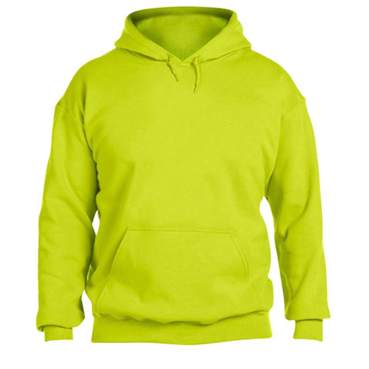 Solid Hooded Sweatshirt  50/50 Heavy Blend-Neon Green-XL
