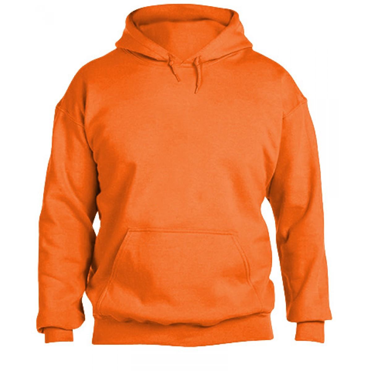 Solid Hooded Sweatshirt  50/50 Heavy Blend-Safety Orange-XL