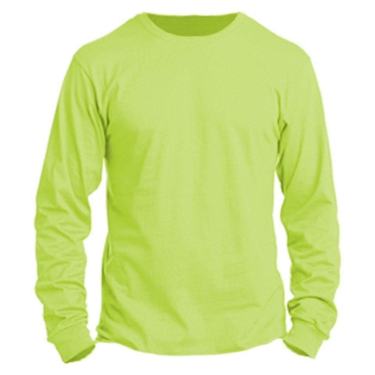Basic Long Sleeve Crew Neck -Neon Green-XL