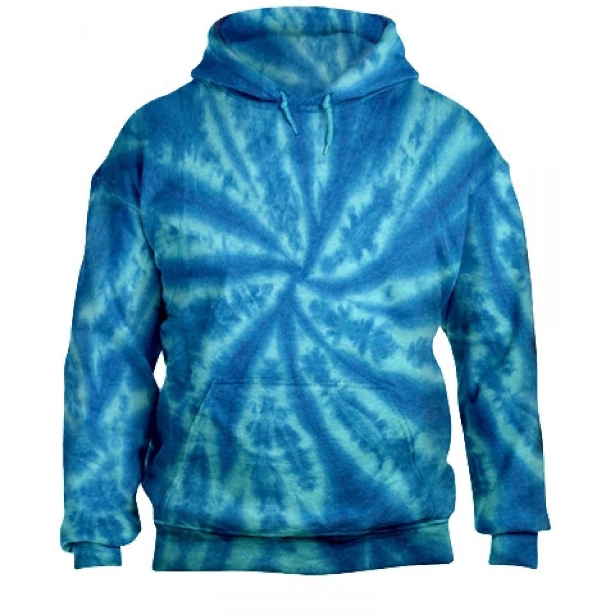 Tie-Dye Pullover Hooded Sweatshirt-Blue-XL