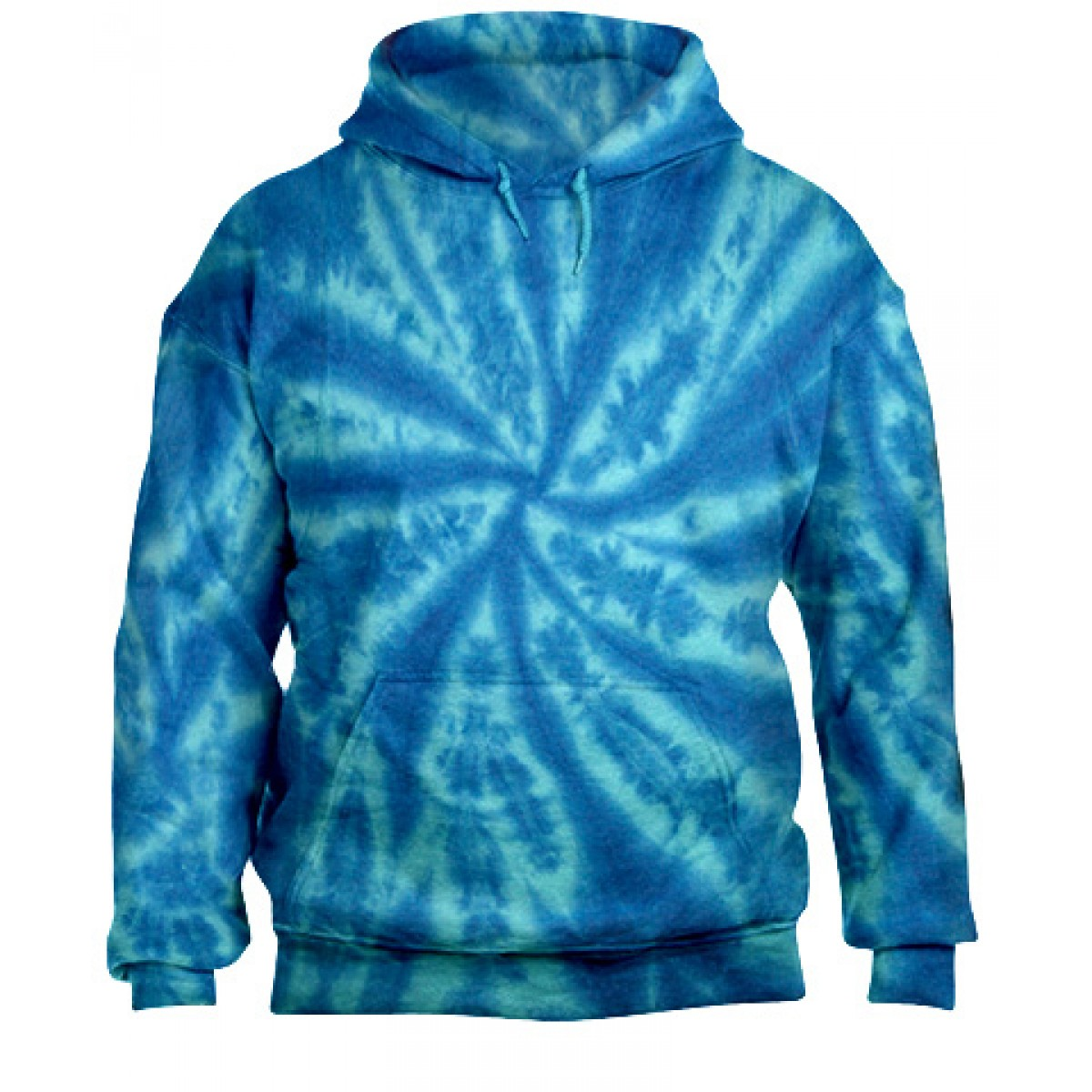 Tie-Dye Pullover Hooded Sweatshirt-Blue-YL