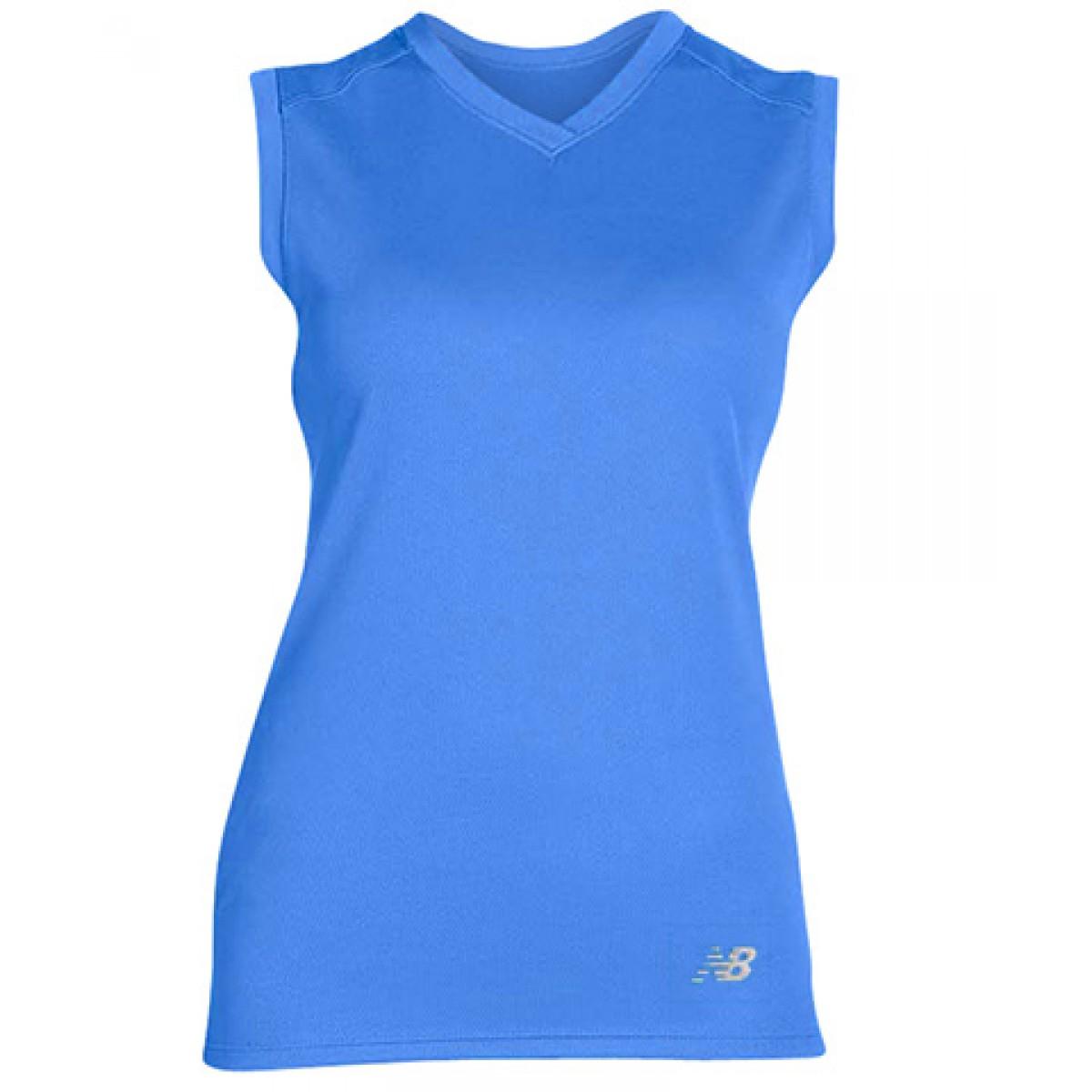 Ladies' Athletic V-Neck Performance T-Shirt-Blue-XL