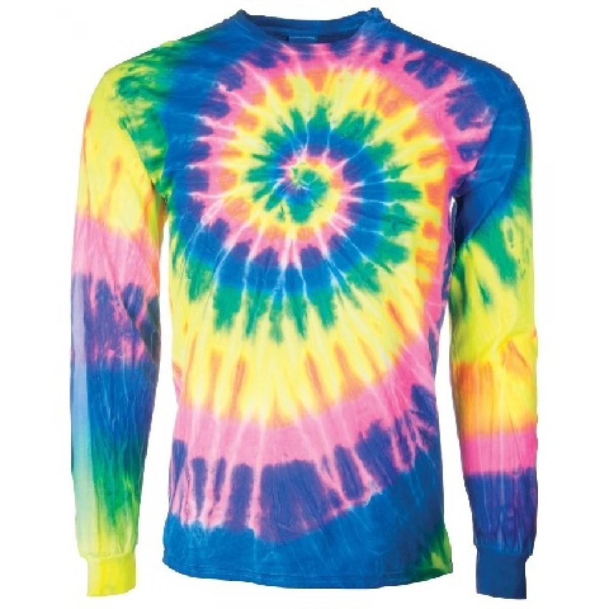 Spiral Tie Dye Long Sleeve Flo Rainbow-Rainbow-L