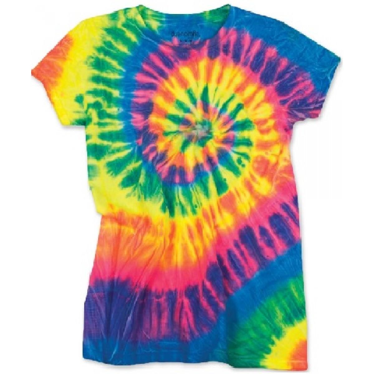 Spiral Tie Dye T-Shirt Flo Rainbow-Rainbow-YL