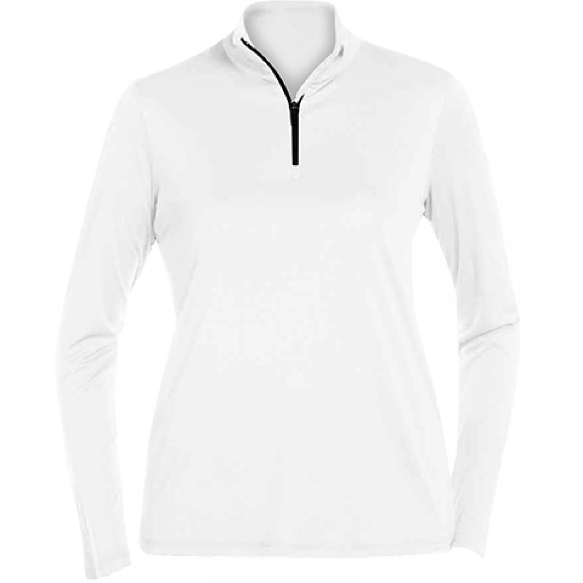 Ladies Quarter-Zip Lightweight Pull Over -White-M