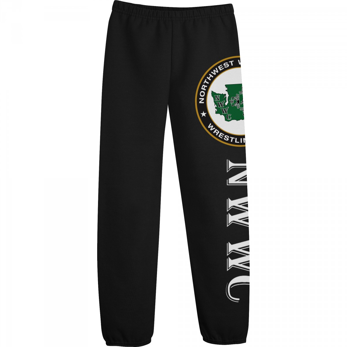 NWWC Black Sweatpants Green Logo-Black-XL