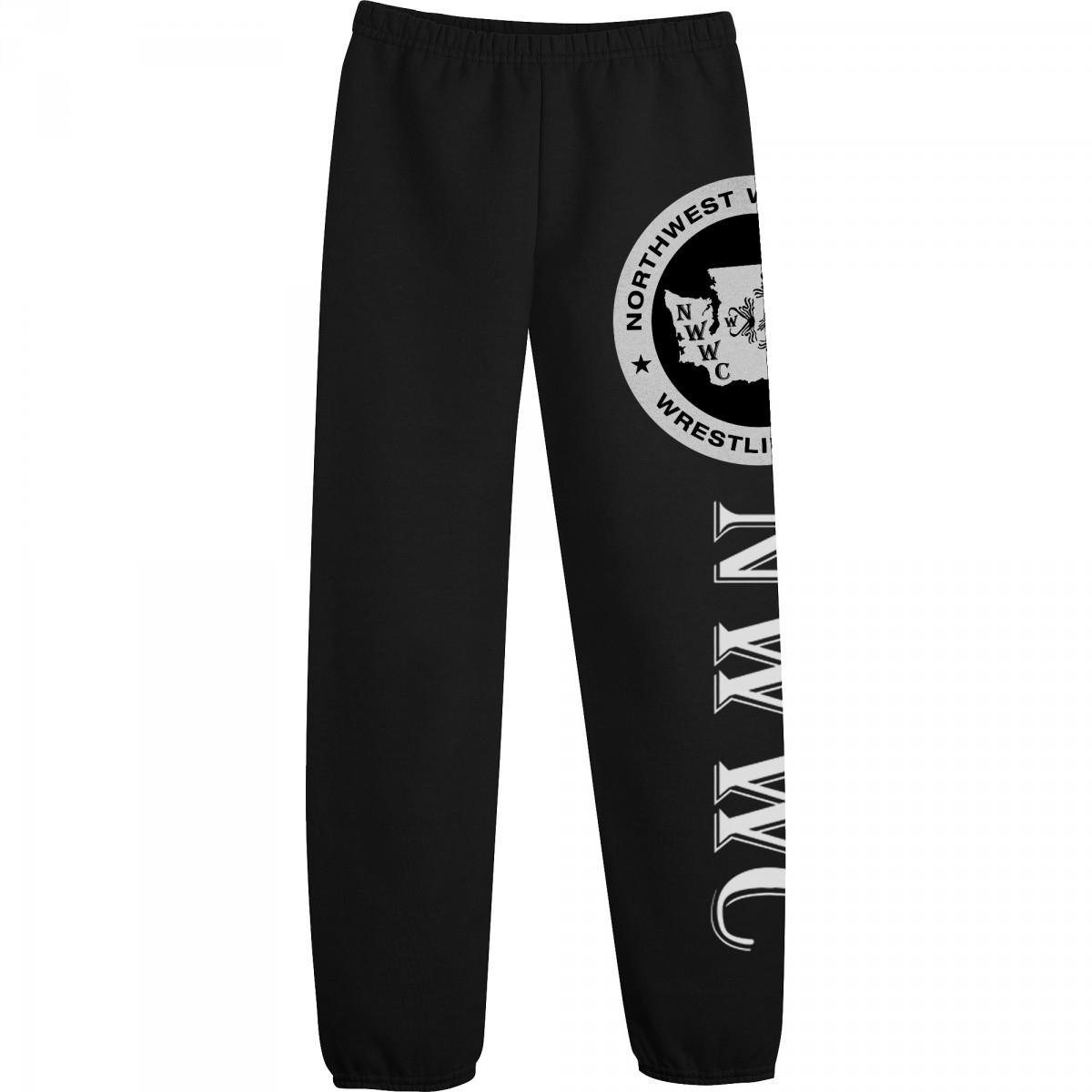 NWWC Black Sweatpants White Logo-Black-YL