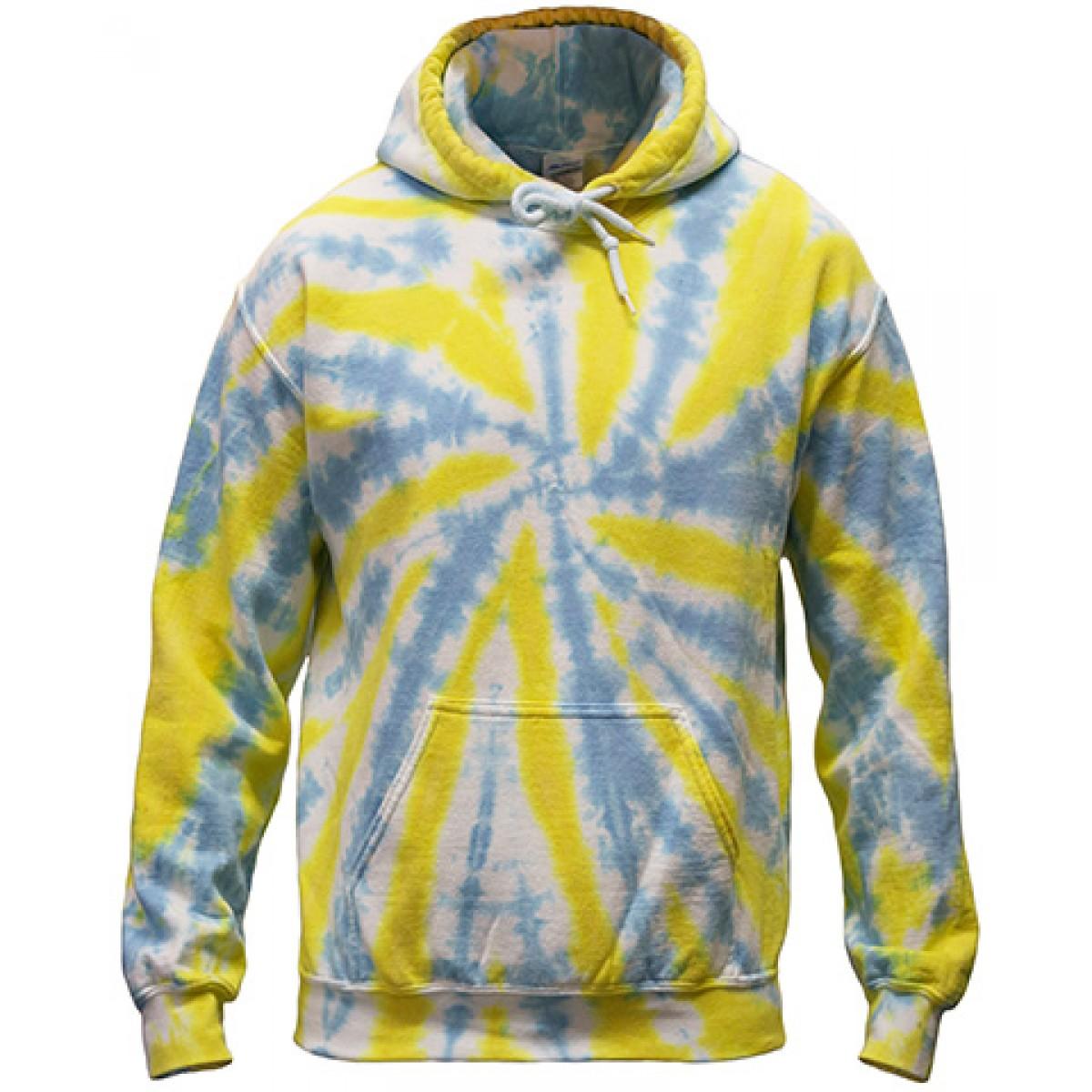 Tie-Dye Pullover Hooded Sweatshirt-Blue/Yellow-2XL