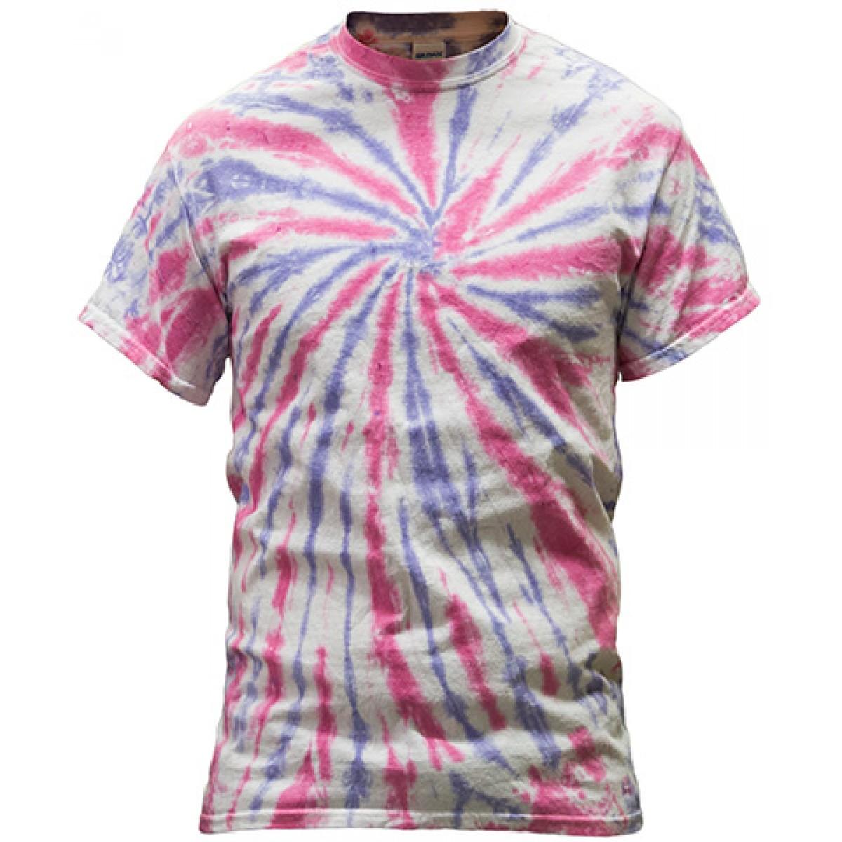 Multi-Color Tie-Dye Tee -Pink/Purple-M