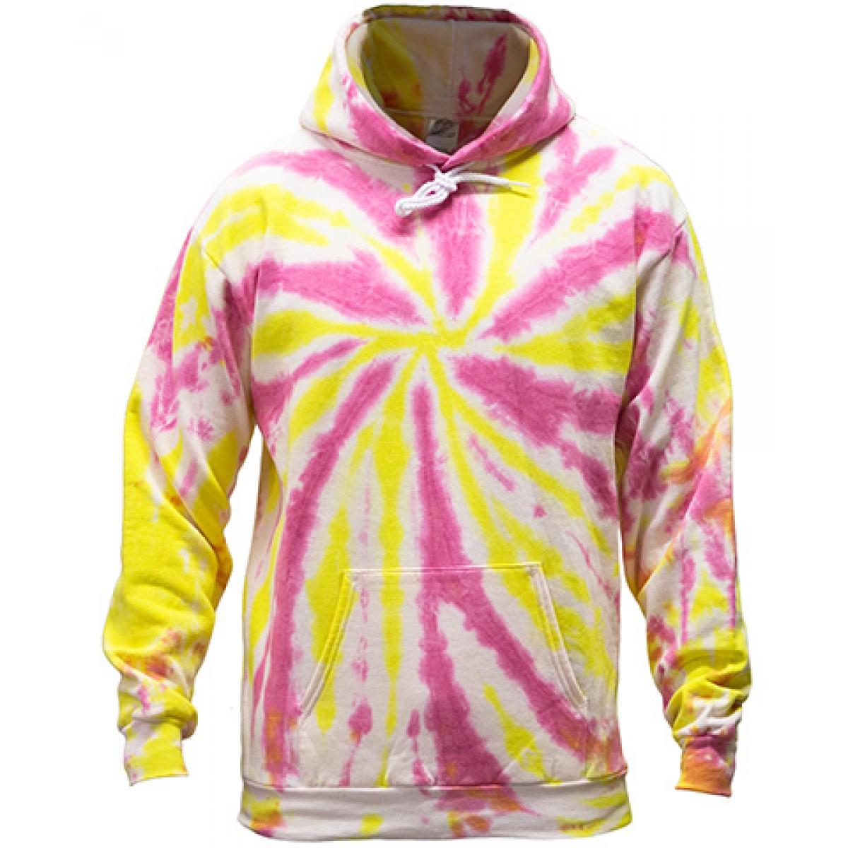 Tie-Dye Pullover Hooded Sweatshirt-Pink/Yellow-XL
