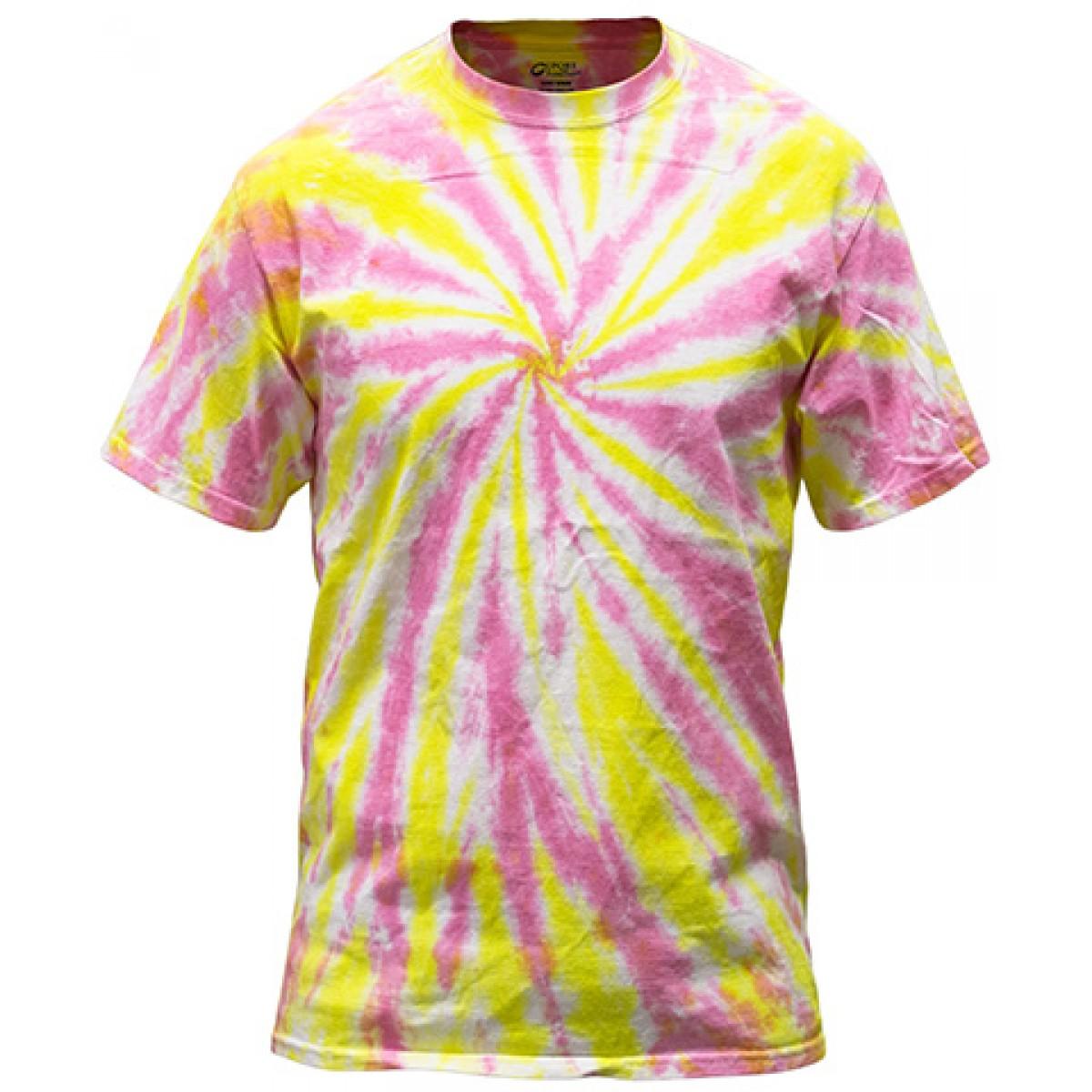 Multi-Color Tie-Dye Tee -Pink/Yellow-XL