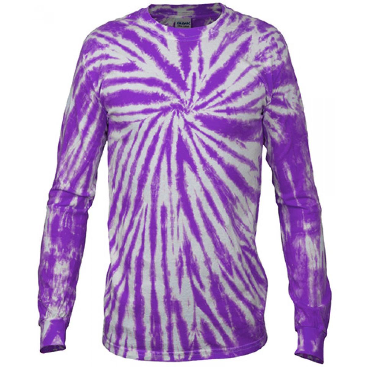 Multi Color Tie-Dye Long Sleeve Shirt -Fuscia-L