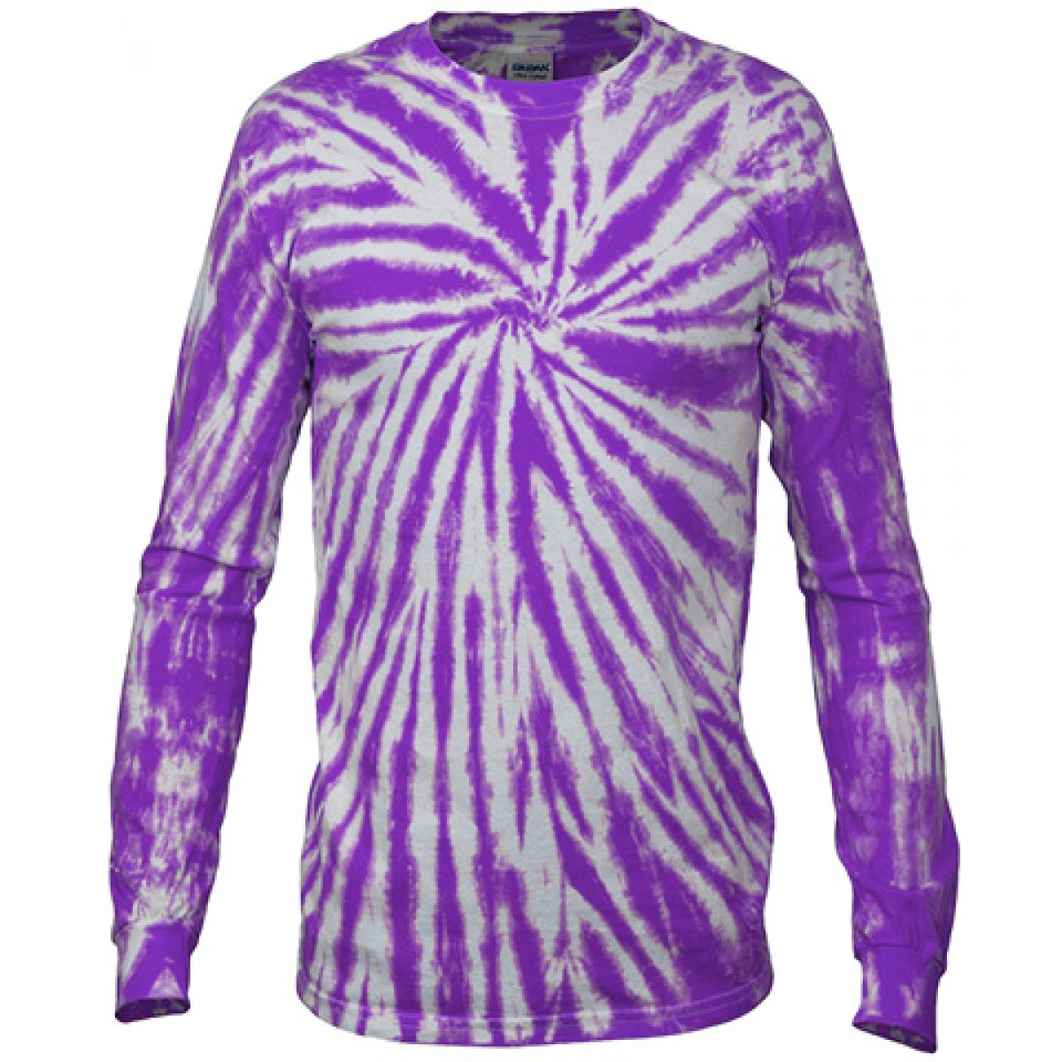 Multi Color Tie-Dye Long Sleeve Shirt -Fuscia-2XL