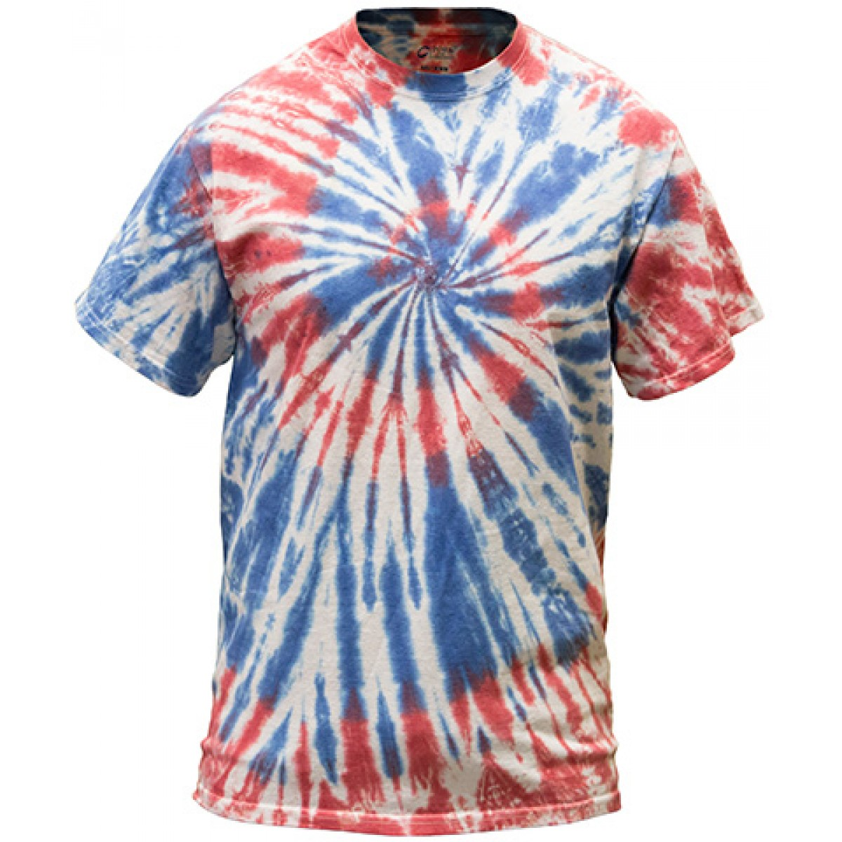 Multi-Color Tie-Dye Tee -Red/White/Blue-XL