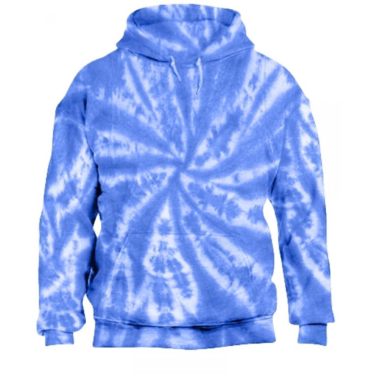Tie-Dye Pullover Hooded Sweatshirt-Blue-M