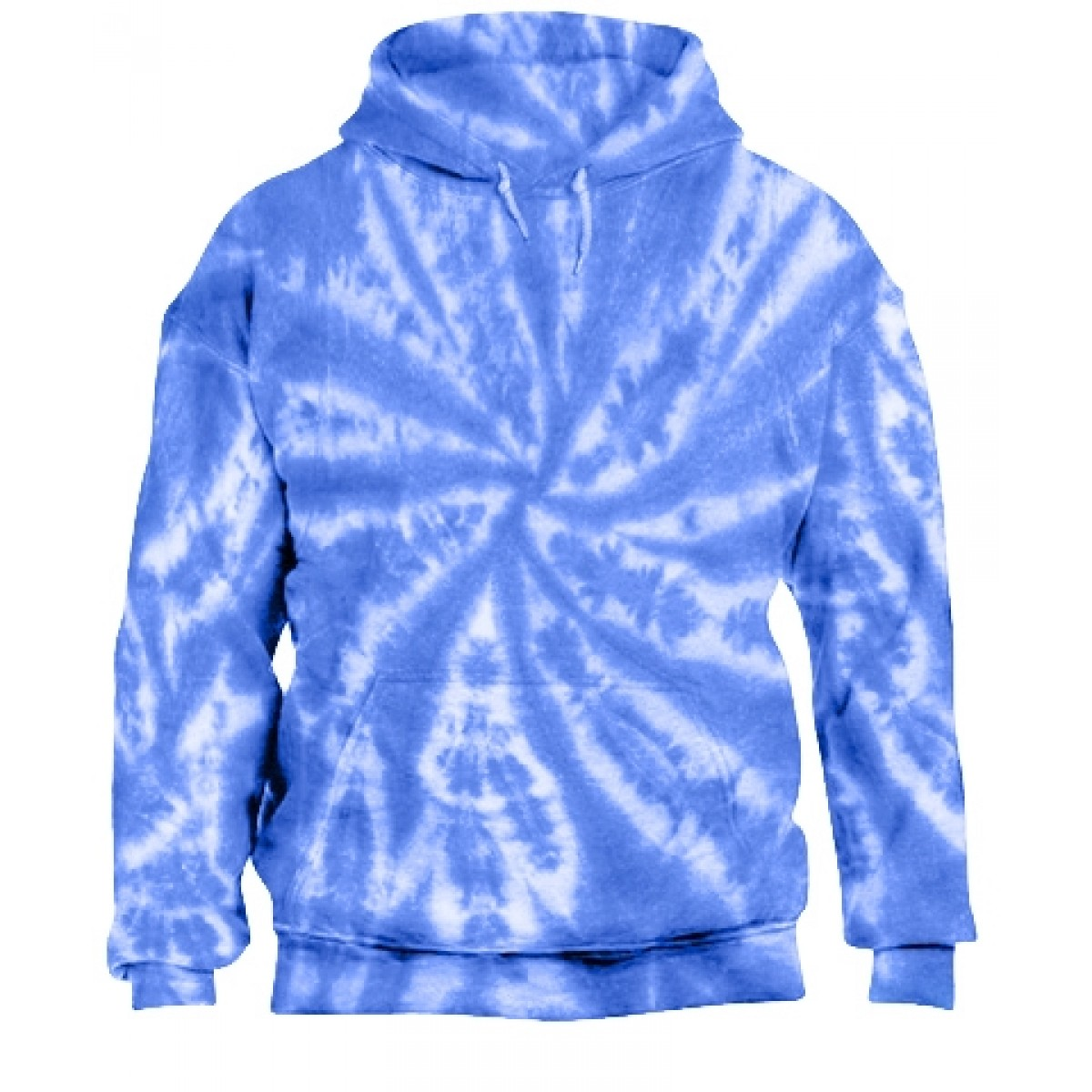 Tie-Dye Pullover Hooded Sweatshirt-Blue-2XL