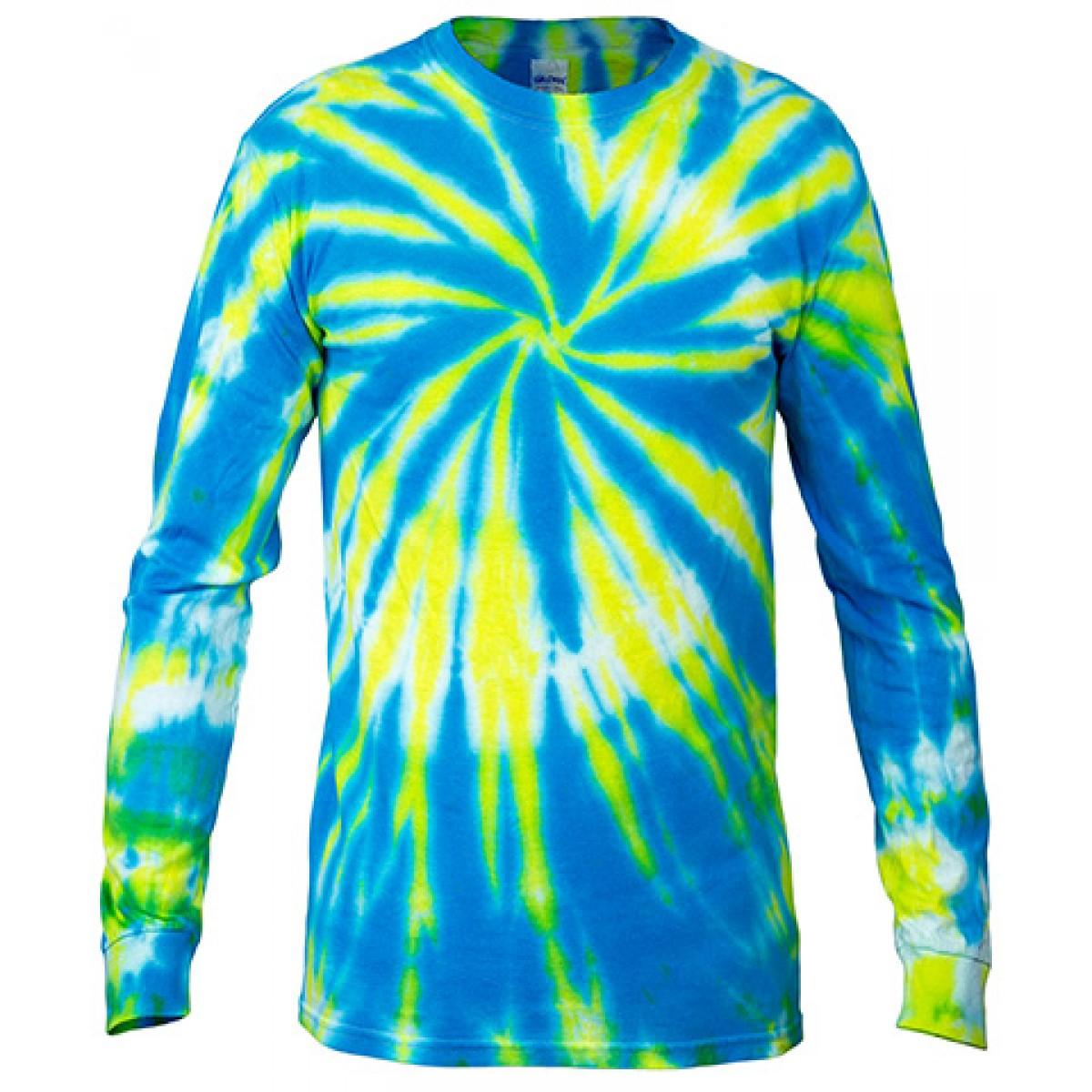 Multi Color Tie-Dye Long Sleeve Shirt -Blue-XL