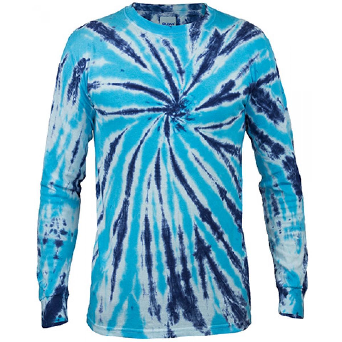 Multi Color Tie-Dye Long Sleeve Shirt -Royal Blue-YM
