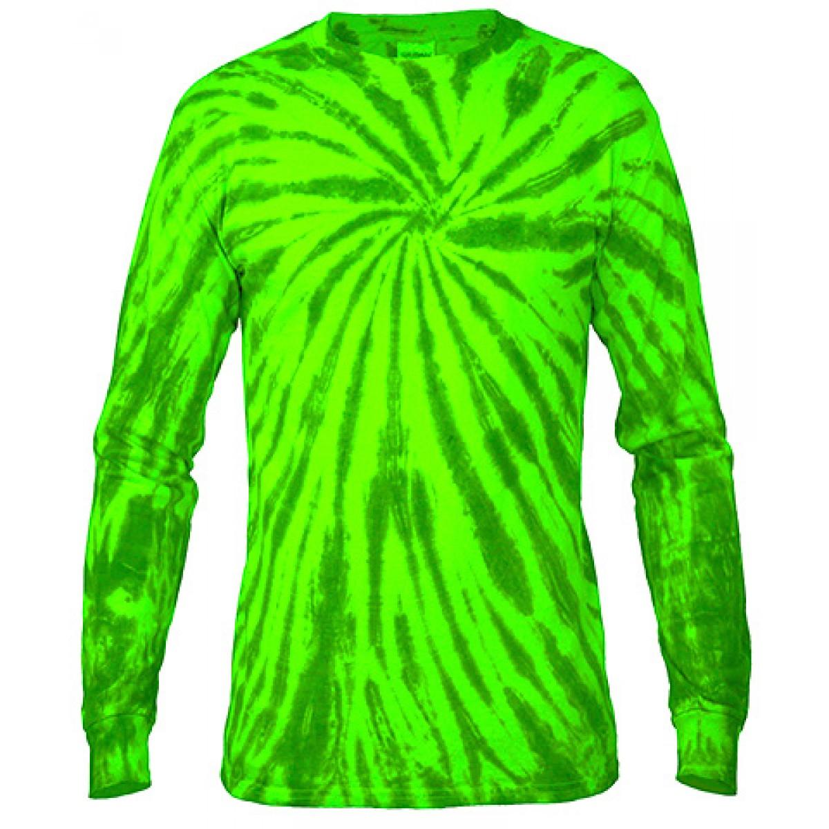 Multi Color Tie-Dye Long Sleeve Shirt -Green-M
