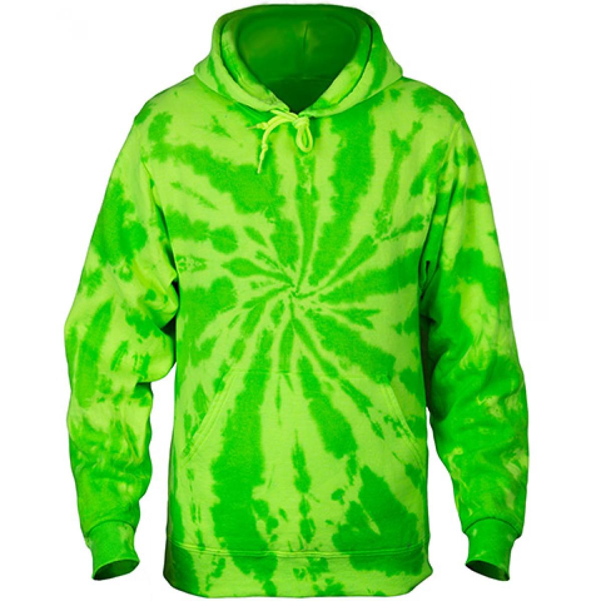Tie-Dye Pullover Hooded Sweatshirt-Neon Green-XL