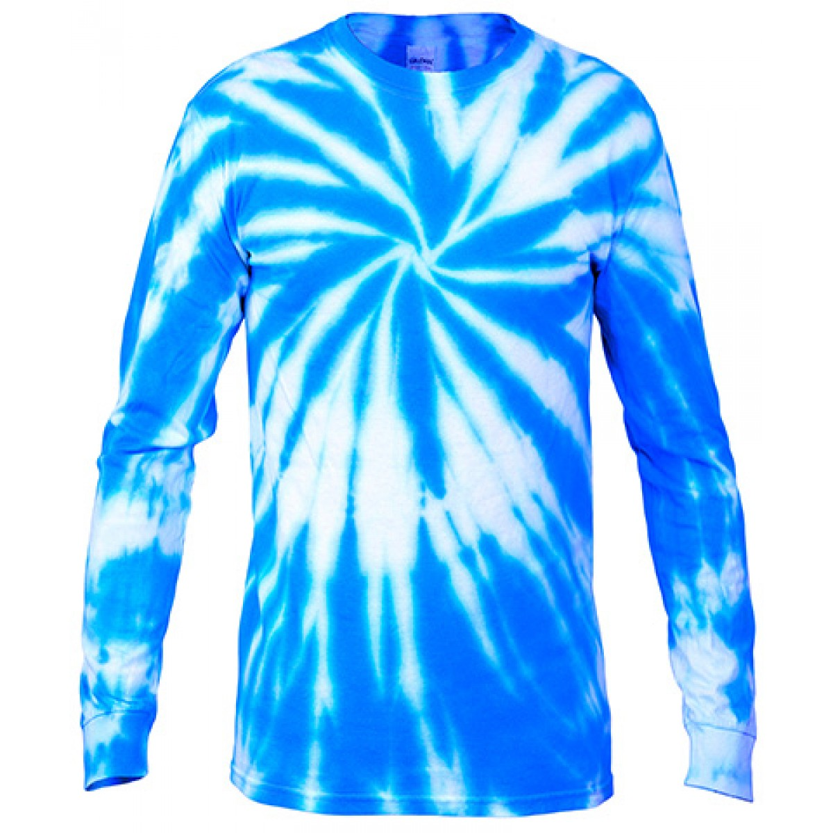 Multi Color Tie-Dye Long Sleeve Shirt -Blue-2XL
