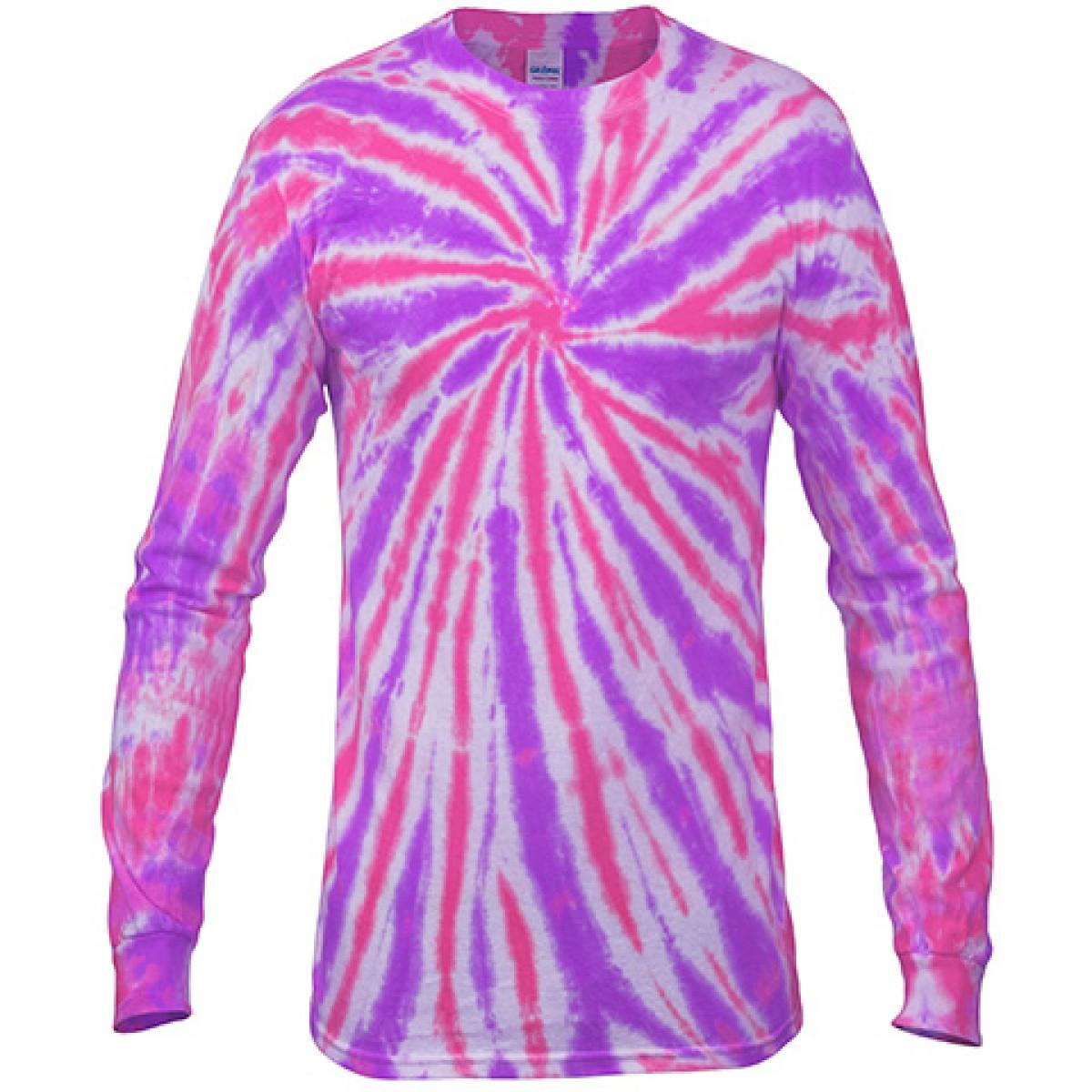 Multi Color Tie-Dye Long Sleeve Shirt -Purple-YL
