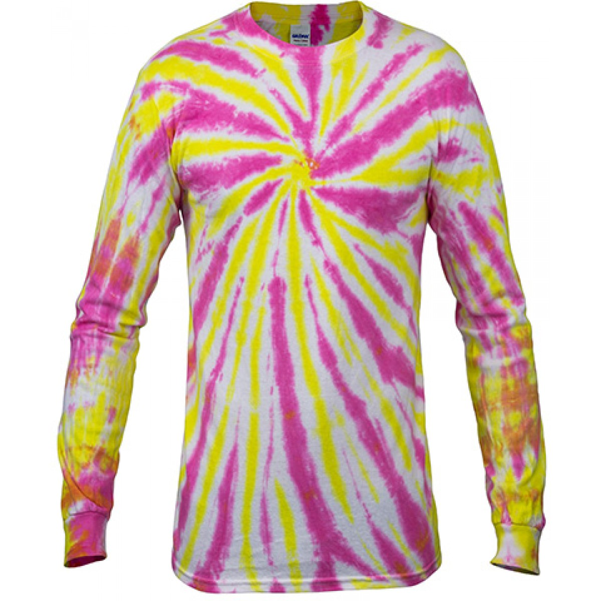 Multi Color Tie-Dye Long Sleeve Shirt -Pink-XL