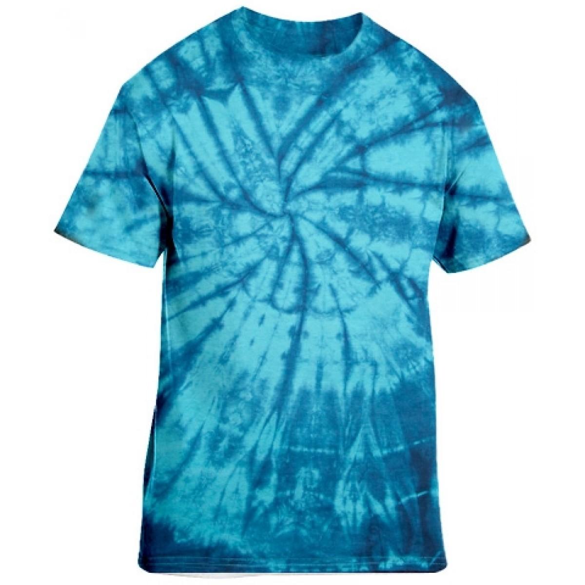 Tie-Dye Blue Short Sleeve-Blue-XL