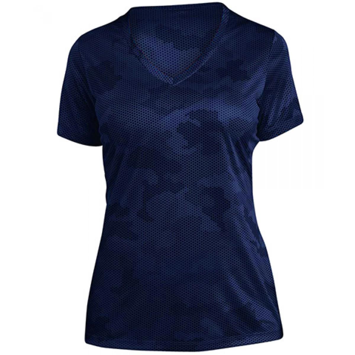 Ladies CamoHex V-Neck Tee-Royal Blue-2XL
