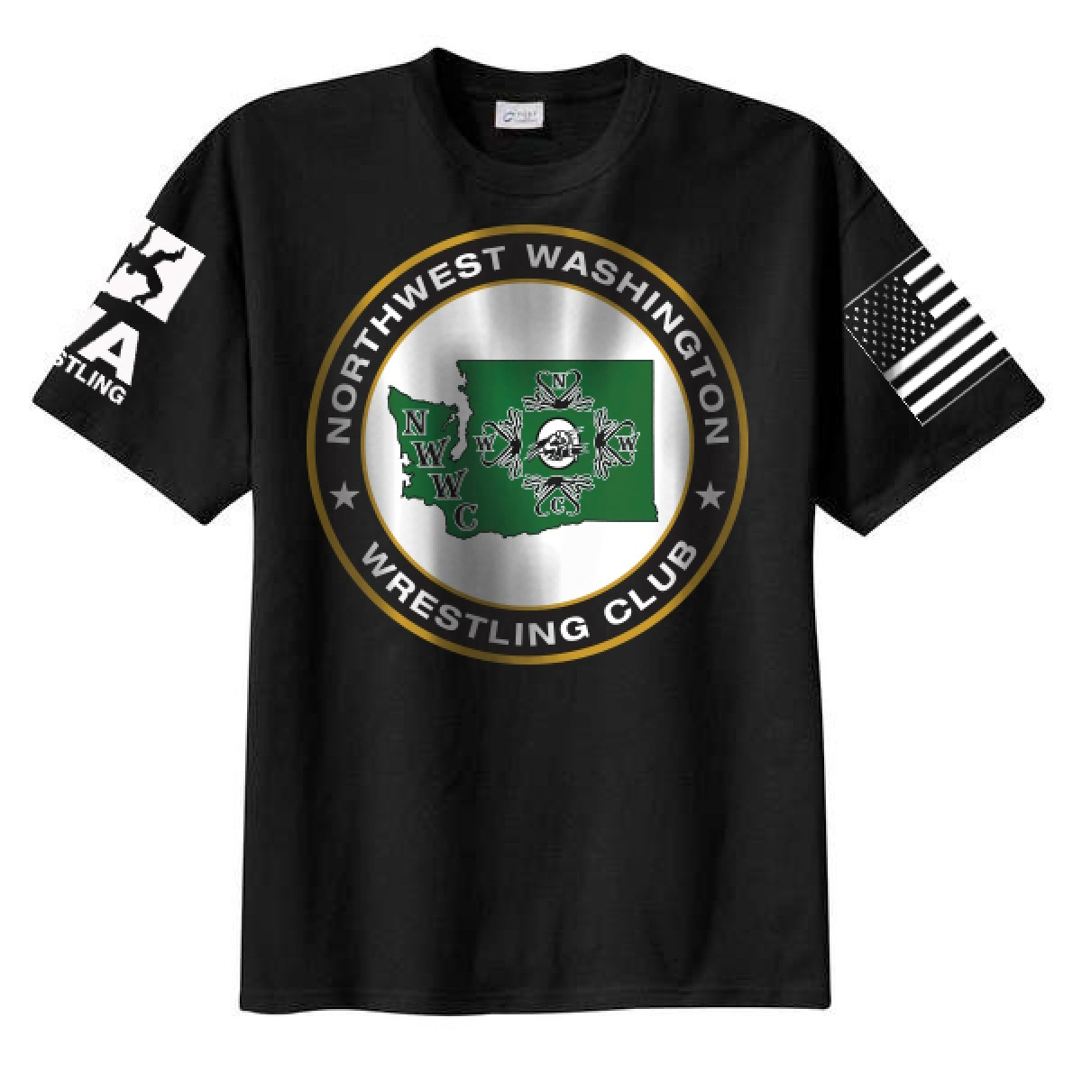 NWWC Black T-Shirt With Green Logo-Black-2XL