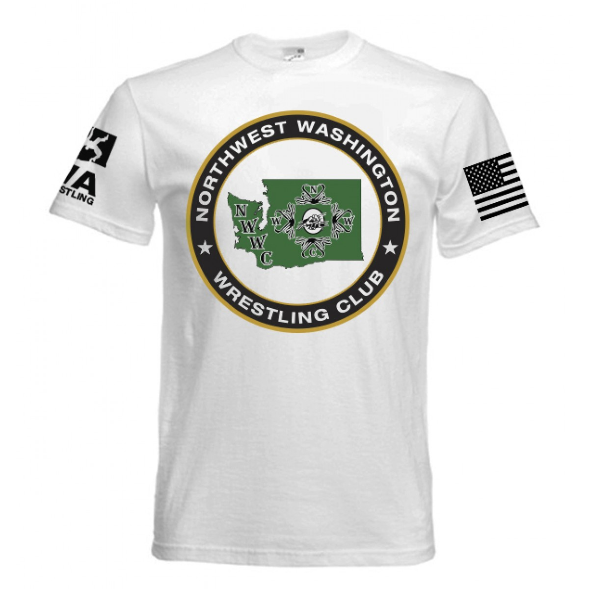 NWWC White T-shirt Green Logo-White-YM