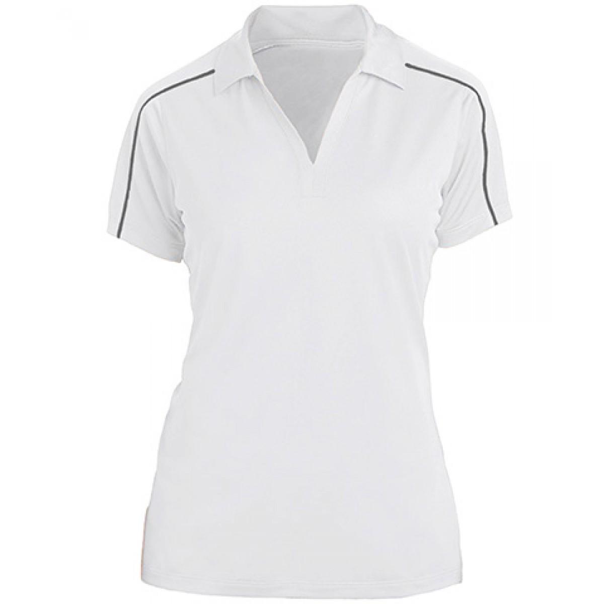 Sport-Tek Womens Piped Short Sleeve Polo -White-L