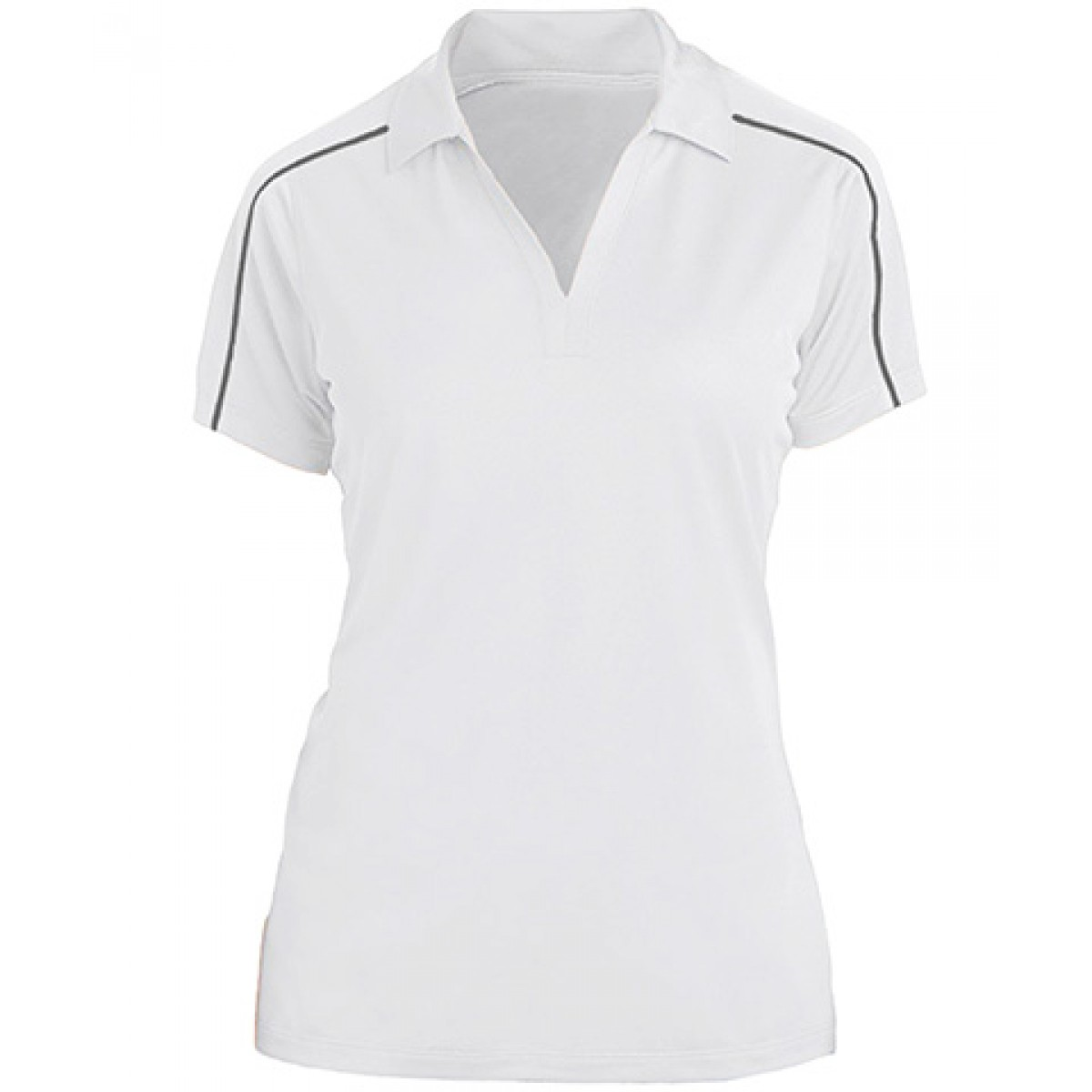 Sport-Tek Womens Piped Short Sleeve Polo -White-XL