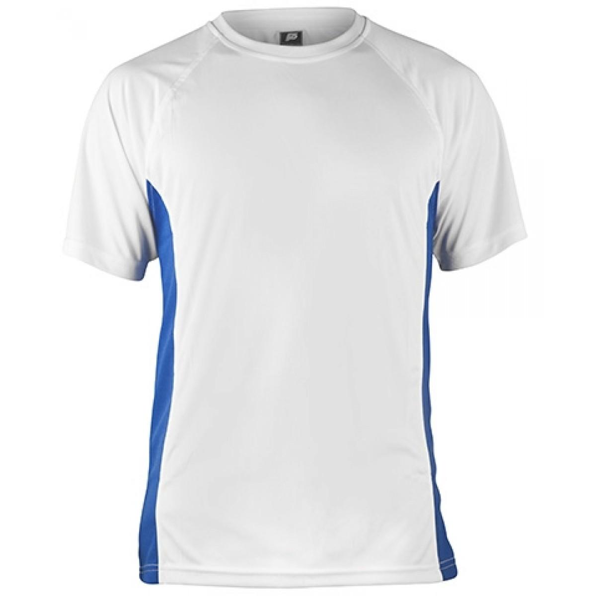 Short Sleeve White Performance With Blue Side Insert-White/Blue-M