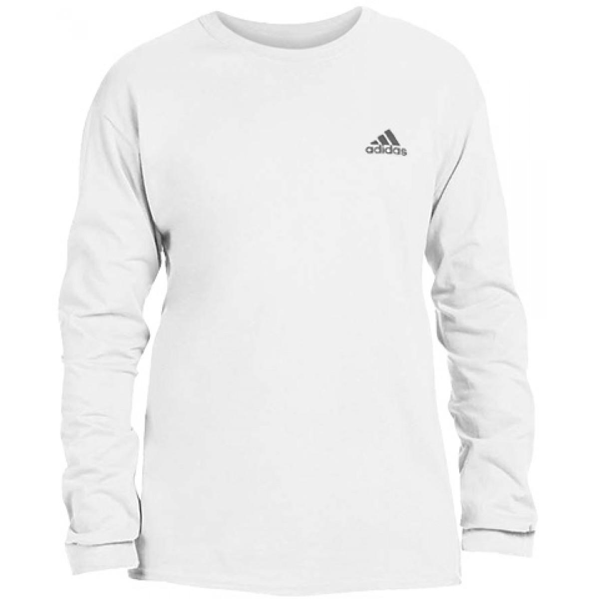 Men's Ultimate Long Sleeve Adidas Crew Tee-White-M