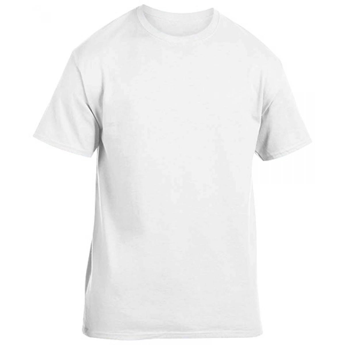 Soft 100% Cotton T-Shirt-White-YL
